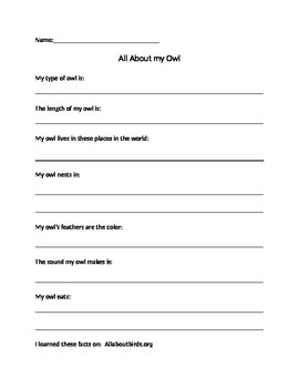 All about my Owl Graphic Organizer