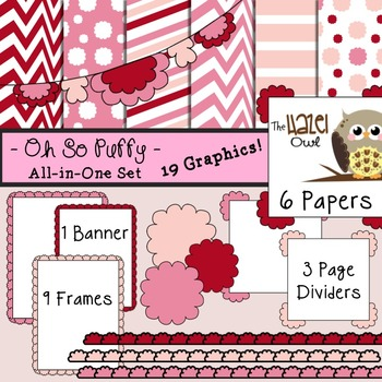 All-in-One Set: Oh So Puffy 10 {Digital Papers, Frames, Pa