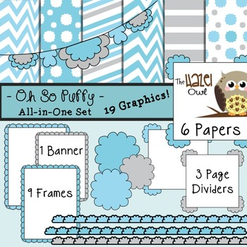 All-in-One Set: Oh So Puffy 12 {Digital Papers, Frames, Pa