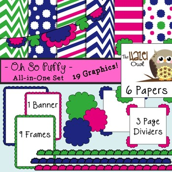 All-in-One Set: Oh So Puffy 6 {Digital Papers, Frames, Pag