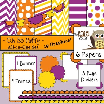 All-in-One Set: Oh So Puffy 9 {Digital Papers, Frames, Pag