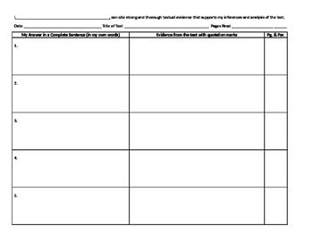 All-purpose Worksheet for Citing Evidence