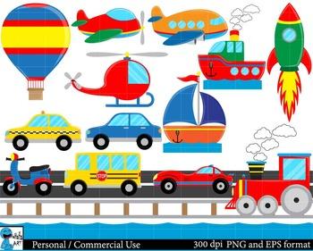 All transportation Set Clipart Digital Clip Art Graphics 4
