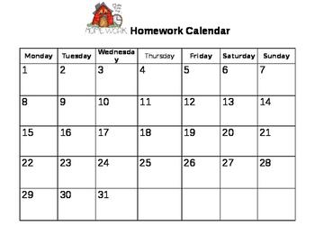 All year around Homework Calendar