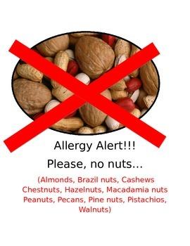 Allergy sign alert for classroom