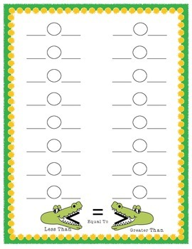 Allie the Alligator: Comparing Numbers Accountability Shee