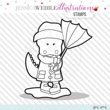Alligator in Rain Cute Digital B&W Stamp, Cute Alligator L