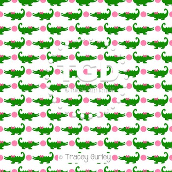 Alligators with bow and pink dots on White digital paper P