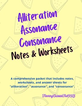 Alliteration, Assonance, & Consonance Worksheets