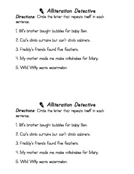 Literary Device: Alliteration Detective (Circle the Letter