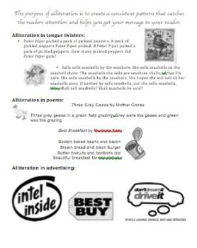 Explaining Alliteration- Tool to explain what alliteration