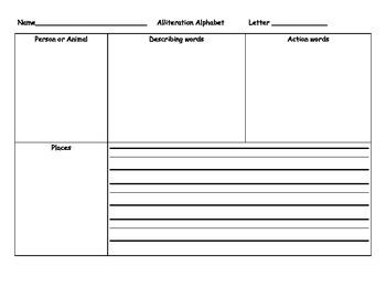 Alliteration Thinking Sheet