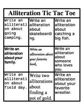 Alliteration Tic Tac Toe