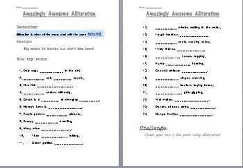 Alliteration Homework Worksheet Kid Friendly and Challenging!