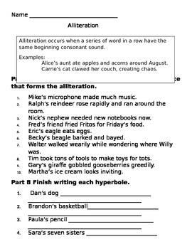 Alliteration and Hyperboles 5th-6th Grade