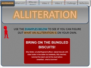 FIGURATIVE LANGUAGE (ALLITERATIONS) - Interactive PowerPoint