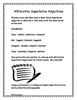 Alliterative Superlative Adjectives - Fun With Parts of Sp