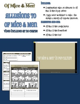 Allusions to Of Mice & Men Worksheet with complimentary video