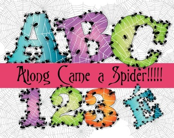 "Along Came a Spider! -  150 DPI - PDF/ PNGs - 4.5"" High - Vector"