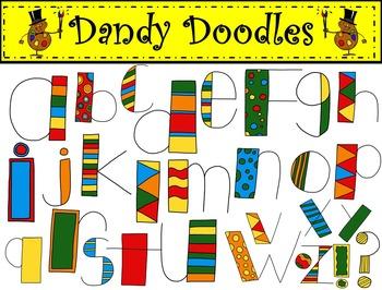 Alpha Doodles Bright Colors Clip Art by Dandy Doodles