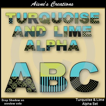 Alpha & Numbers - Turquoise & Lime Clip Art Set