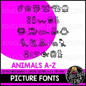 Alpha-pics Animals Alphabet Images Font {Educlips Clipart}