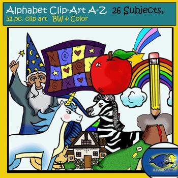 Alphabet A-Z  (26 Color, 26 B&W) 52 pc. Total!