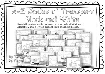 Alphabet A to Z of Transport Black and White version
