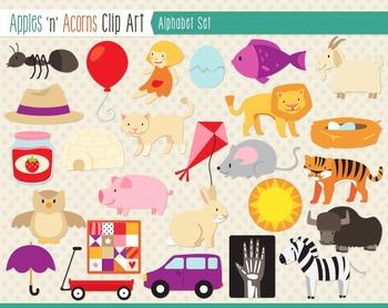 Alphabet ABCs Clip Art - color and outlines
