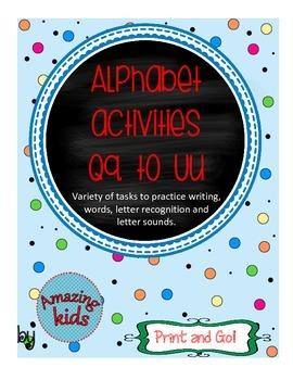 Alphabet Activities Qq to Uu