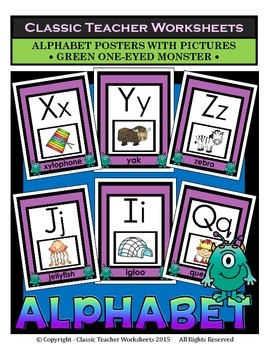 Alphabet - Alphabet Posters With Pictures - Green One-Eyed