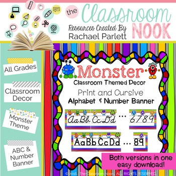 Monster Theme: Alphabet And Number Classroom Banner