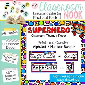 Superhero Theme: Alphabet And Number Classroom Banner