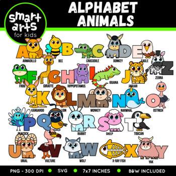 Complete Alphabet Animals Digital Clipart Set