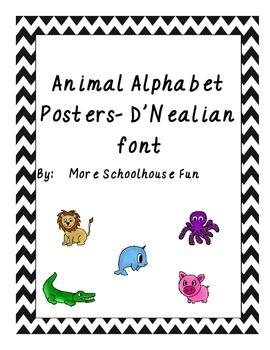 Alphabet Animal Posters-Dnealian Font Colorful Chevron Background