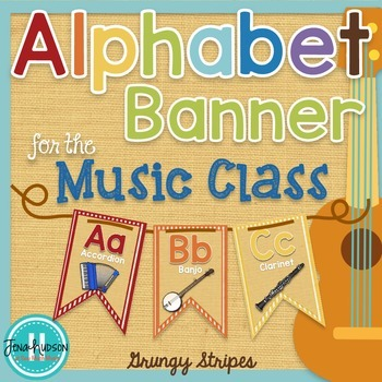 Alphabet Banner for the Music Class ~ Grungy Stripes