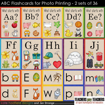 Alphabet / Beginning Sounds ABC flashcards (designed for P