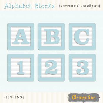 Alphabet Blocks clip art - blue