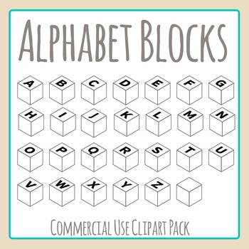 Alphabet Blocks to Make Words Clip Art Set for Commercial Use