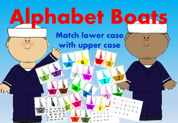 Alphabet Boats Match Lower Case with Upper Case