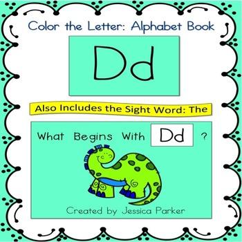 "Alphabet Book for Letter D: ""Color the Letter"" Alphabet Bo"