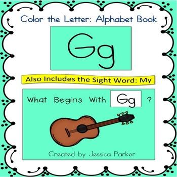 """Alphabet Book for Letter G: """"Color the Letter"""" Alphabet Bo"""