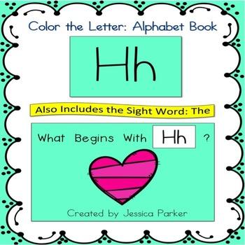 "Alphabet Book for Letter H: ""Color the Letter"" Alphabet Bo"