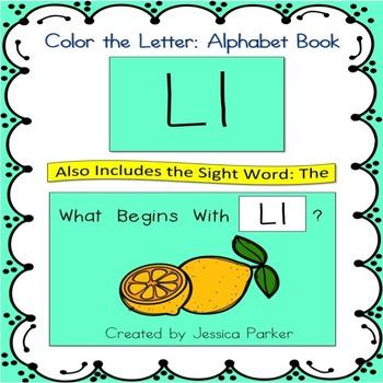 "Alphabet Book for Letter L: ""Color the Letter"" Alphabet Bo"