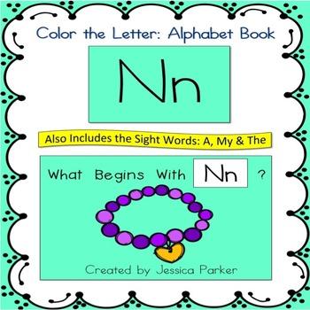 "Alphabet Book for Letter N: ""Color the Letter"" Alphabet Bo"
