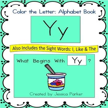 "Alphabet Book for Letter Y: ""Color the Letter"" Alphabet Bo"