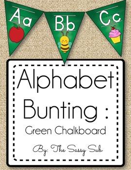 Alphabet Bunting: Green Chalkboard Theme