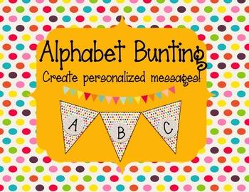 Alphabet Bunting Polka Dots
