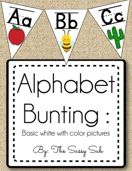 Alphabet Bunting: White with Color Pictures