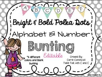 Editable Alphabet Bunting with Bright Bold Polka Dots {Inc